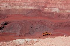 Iron ore mining. Large, open-pit iron ore mine showing the various layers of soil and iron rich ore Royalty Free Stock Image