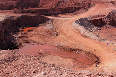 Iron ore mining. Large, open-pit iron ore mine showing the various layers of soil and iron rich ore Stock Photos
