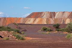Iron ore mining. Mining dump with colorful layers of soil excavated from iron ore mining operations Stock Image