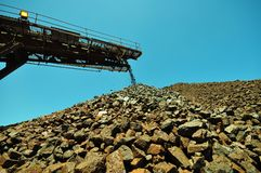 Iron Ore Mining. A growing stockpile of iron ore at the end of a conveyor system. Iron mine royalty free stock photo