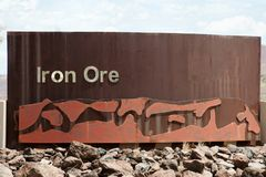 Iron Ore Mining Sign. In Australia Royalty Free Stock Photography