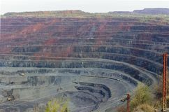 Iron ore open pit mining, quarry royalty free stock image