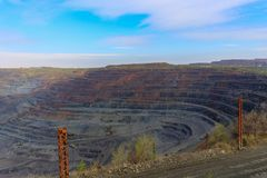 Iron ore open pit mining, quarry royalty free stock images