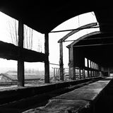 Iron ore reservoir. A vintage photo of an iron ore reservoir (ruin) in an abandoned industrial brownfield in Kladno, Czech republic Stock Photos