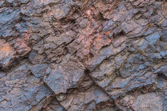 Iron ore texture close up - natural minerals in the mine. Stone texture of open pit. Extraction of minerals for heavy Royalty Free Stock Photos