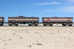 Iron ore train in the Sahara, Mauritania Royalty Free Stock Photo