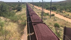 Iron ore transported by railroad stock video