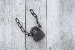 Iron padlock and chain Stock Images