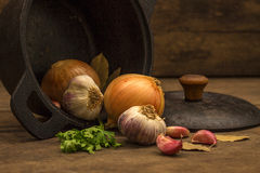 Iron pan with flavoring ingredients Royalty Free Stock Images