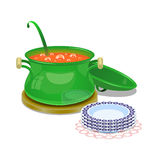 Iron pan with hot soup and some plates Royalty Free Stock Image