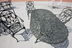 Iron patio furniture Royalty Free Stock Photography