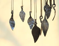 Iron pendants. In shape of leaves Royalty Free Stock Image