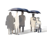 Iron people under iron umbrellas waiting for a bus. Bus stop in the form of iron people standing under umbrellas, isolated, on white background, with clipping royalty free stock photos