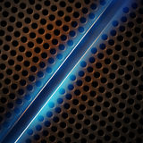 Iron perforated background with blue glow Stock Photography