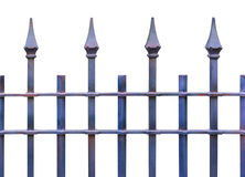 Iron picket country style fence isolated on white background. Object with clipping path royalty free stock image