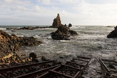 Iron pier for fishing boats at Mermaids Reef Stock Photo