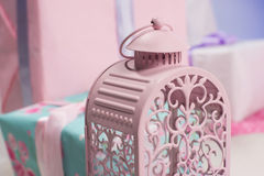 Iron pink bird cage Stock Images