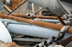 Iron pipes of a landfill of ferrous material Stock Photos