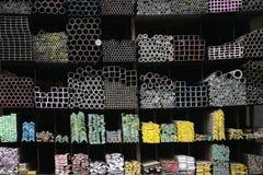 Iron pipes shelf Stock Images