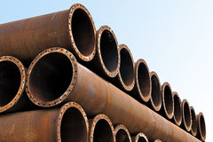 Iron pipes and steel tubes factory Royalty Free Stock Images
