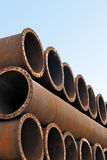 Iron pipes and steel tubes factory Royalty Free Stock Photos
