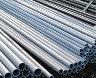 Iron pipes for the transport of electrical cables Royalty Free Stock Image
