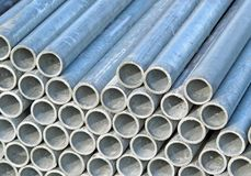 Iron pipes for the transport of electrical cables Stock Photos