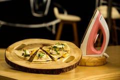 Iron pizza stock image