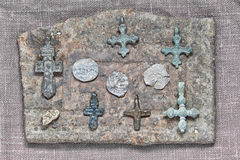 On an iron plate. Christian crosses on an iron plate with a pattern a meander Royalty Free Stock Photography