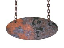 A iron plate hang on chains, 3D Stock Photo