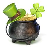 Iron pot full of golden coins, Green St. Patrick`s Day hat and c Royalty Free Stock Images