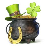Iron pot full of golden coins, Green St. Patrick`s Day hat, clov Stock Photos