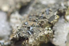 Iron pyrite, is an iron sulfide with the chemical formula FeS2 Royalty Free Stock Image