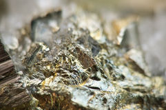 Iron pyrite, is an iron sulfide with the chemical formula FeS2 Stock Image