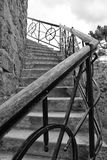 Iron railing near the old house. Iron railing of the stairs Stock Photos
