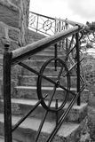 Iron railing near the old house. Iron railing of the stairs Royalty Free Stock Photography