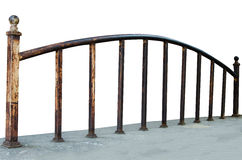 Iron railing. Old iron railing on white Stock Photography