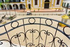 Iron Railing and Plaza Stock Image