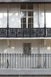 Iron Railings London. Black Iron Railings Fence at Building in London royalty free stock photos