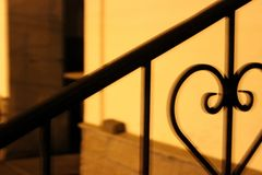 Iron railing at night royalty free stock photos