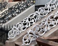 Iron Railings. Running rose pattern, boston victorian architecture Royalty Free Stock Image