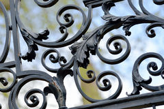 Iron Railings. Wrought iron fence detail, voluted straps and leaves Stock Photo