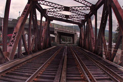 Iron railway bridge Royalty Free Stock Photos