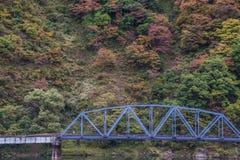 Railroad bridge in autumn. Iron railway bridge in autumn forest , Japan Royalty Free Stock Photography