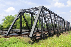 Iron railway bridge over the river Royalty Free Stock Images