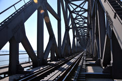 Iron railway bridge rails. perspective view Stock Photography