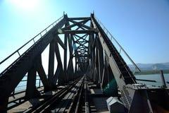 Iron railway bridge rails. perspective view Stock Photo