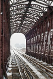 Iron railway bridge in winter Royalty Free Stock Images