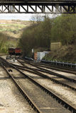 Iron railway tracks converging on the North Yorkshire Moors Rail Royalty Free Stock Images