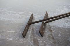 Iron rake. Kampot, Cambodia. Iron rake to work in the salt. Kampot, Cambodia Stock Photo